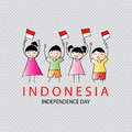 Hand drawing boy and girl holding indonesia flag.