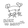 Hand drawing cartoon back to school happy kid Stock Photography