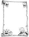 Halloween Frame Scroll with Pumpkins Royalty Free Stock Photo