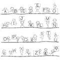 Hand drawing cartoon happiness alphabet character Stock Photography
