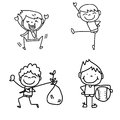Hand drawing cartoon happy kids Royalty Free Stock Photography