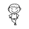 Hand drawing cartoon happy kids character life Royalty Free Stock Image