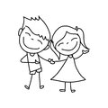 Hand drawing cartoon happy kids character life Royalty Free Stock Photo