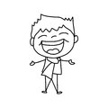 Hand drawing cartoon happy kids character life Stock Images