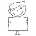 Hand drawing cartoon happy kids character life Stock Photo