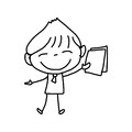 Hand drawing cartoon happy kids character life Stock Image
