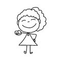 Hand drawing cartoon happy kids character life Royalty Free Stock Photography
