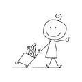 Hand drawing cartoon happy kids character life Royalty Free Stock Photos