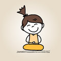 Hand drawing cartoon happy kids character life meditation Royalty Free Stock Image