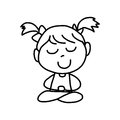 Hand drawing cartoon happy kids meditation Stock Images