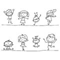 Hand drawing cartoon happy kids playing Royalty Free Stock Image