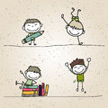 Hand drawing cartoon happy kids playing Stock Image
