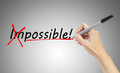 Hand drawing and changing the word impossible to possible business concept Stock Photos