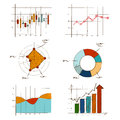 Hand drawing chart graphic collection set for business and statistics education such as radar, candle stick, doughnut Royalty Free Stock Photo
