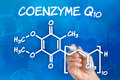 Hand drawing the chemical formula of coenzyme q with pen Stock Image