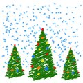 Hand drawing christmas tree with balls. Like child`s drawing crayon or pencil bright green fir-tree. Like kids drawing vector dood