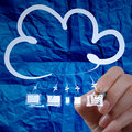 Hand drawing cloud computing diagram with crumpled paper backgr background as concept Royalty Free Stock Image