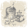 Hand drawing of coffee set ilustration bag vintage grinder and two cups on the table grunge frame monochrome Stock Photos