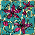 Hand-drawing colorful seamless pattern with flower purple lily and dragonfly.
