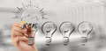 Hand drawing creative business strategy with light bulb Royalty Free Stock Photo
