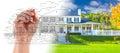 Hand Drawing Custom House Design With Gradation Revealing Photog Royalty Free Stock Photo