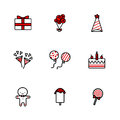 Hand drawing doodle icons set of Birthday elements.