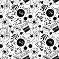 Hand drawing doodles.Seamless pattern with hand phrases and symbols. Vector seamless background.