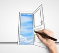 Hand drawing door room with opened to sky Royalty Free Stock Photo