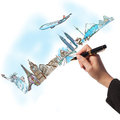 Hand drawing the dream travel aroun the world Royalty Free Stock Photos