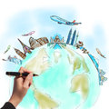 Hand drawing the dream travel aroun the world Stock Photography