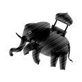 Hand drawing elephant trained design icon