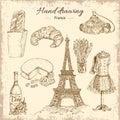 Hand Drawing France Elements Set