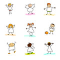 Hand drawing happy kids cartoon Royalty Free Stock Photography
