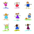 Hand drawing happy kids cartoon Royalty Free Stock Photos