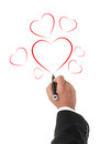 Hand drawing hearts isolated on white background business man red heart shapes with a marker Stock Image