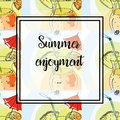 Hand drawing. Illustration of tropical cocktail with umbrella. Seamless pattern. Postcard Summer enjoyment. Royalty Free Stock Photo