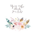 Hand drawing isolated watercolor floral illustration with leaves, branches, flowers and feathers. indigo Watercolour art