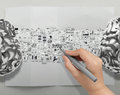 Hand drawing metal brains 3d Royalty Free Stock Photo