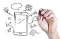 Hand drawing mobile phone with social media concept Royalty Free Stock Photo