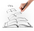 Hand drawing open flying book on white background Stock Images