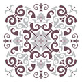 Hand drawing pattern for tile in dark brown, gray, black and white colors. Italian majolica style