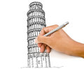 Hand drawing Pisa Tower line  in Italy for constru Royalty Free Stock Photography