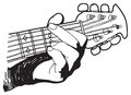 Hand drawing of playing guitar Royalty Free Stock Photos