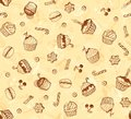 Hand-drawing seamless cupcake pattern Stock Photography