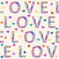 Hand-drawing seamless pattern background with bright colored motley love word and hearts for valentines day or wedding Royalty Free Stock Photo
