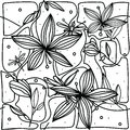 Hand-drawing seamless pattern with flower lily and dragonfly on white background.