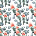 Hand drawing seamless watercolor floral patterns with protea