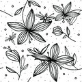 Hand-drawing simple floral pattern with flower lily and dragonfly on white background
