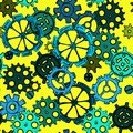 Hand drawing sketch sprocket-wheels, colorful gears seamless pattern Royalty Free Stock Photo