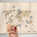 Hand drawing social media icon with crumpled recycle paper backg background as concept Royalty Free Stock Photo
